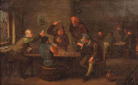 a tavern interior with peasants playing cards by egbert van heemskerck the younger