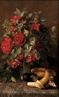 still life with roses, bananas and figs by susie w. dugan