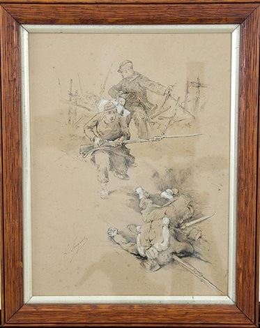 Franco Prussian War military figures study by Lucien Pierre