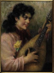 suonatrice di mandolino by giuseppe maldarelli