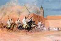 fantasia devant les remparts de meknès by henri lemaire