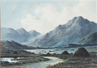 west of ireland mountainous landscape and another similar scene, with thatched cottages in foreground by douglas alexander