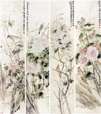 工笔花鸟 (set of 4) by jiang jianlin