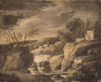 an italianate river landscape with classical buildings by jan de momper