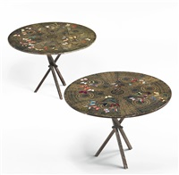 pair of farfalle side tables by piero fornasetti