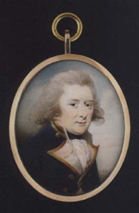 portrait of a naval officer wearing blue coat with gold trimmed white facings and gold buttons, black stock and white cravat by patrick john mcmoreland