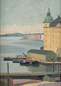 vy över riddarfjärden och gamla riksdagshuset by greta gerell
