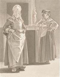 deux femmes dans un intérieur, une statuette d'une vénus callypige sur la cheminée by françois jean (jean françois) sablet