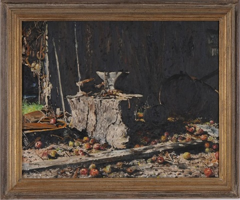 anvil on stump by robert sarsony