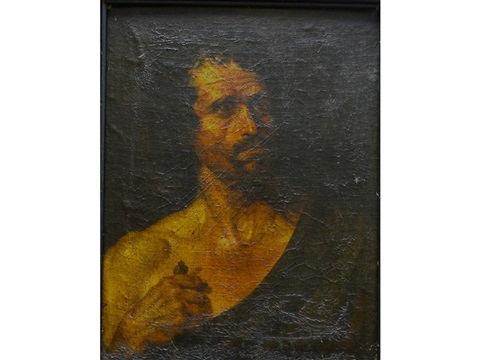 the head of a bearded man wearing a cloak by théodore géricault
