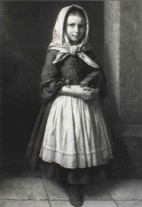 portrait of a girl wearing scarf and holding a rose and prayer book by karl friedrich boser
