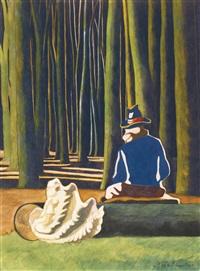 le poète dans la forêt, coquillage. le pot de tabac by léon spilliaert