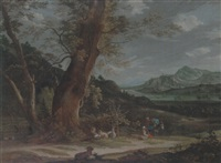 a rhenish landscape with drovers resting with their animals by johann christoph von bemmel