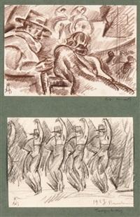 zwei zeichnungen mit tanzszenen (2 works) by roberto marcello baldessari