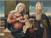madonna con bambino e santo vescovo by girolamo da santacroce