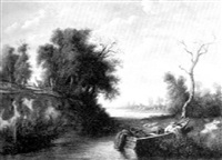 wooded landscape by a river by p. l. jacquemain