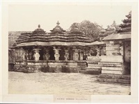 moongoor. porch of a sivite temple (+ 5 others; 6 studies, from architecture in dhawar and mysore) by william henry pigou