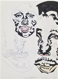 untitled (faces, march 27, 1970) by karl wirsum