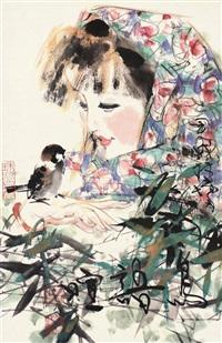 鸟语喧 镜片 设色纸本 by lin yong