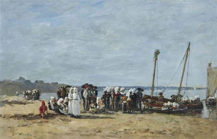 pêcheuses de kerhor se rendant au pardon à plougastel by eugène boudin