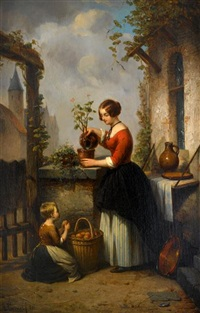 watering the plants by alphonse cornet