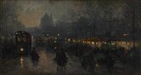 boulevard animé au crépuscule by p. gillini