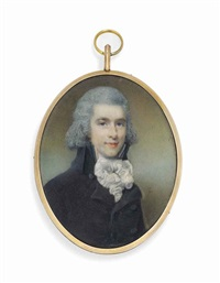 a young gentleman, in dark coat, knotted white cravat by horace hone