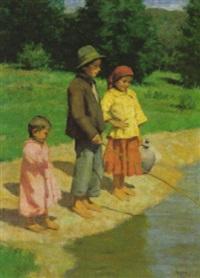 ragazzi a pesca sul fiume by janos laszlo aldor