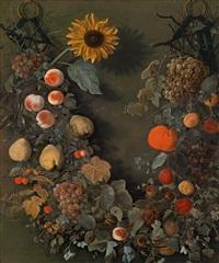 ein blumengebinde mit einer sonnenblume und früchten by cornelis kick