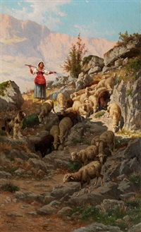 junge italienische schäferin mit ihrer herde im apennin-gebirge by pietro barucci