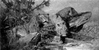löwenpaar auf der lauer by josef brunner