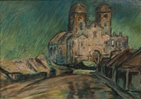 church with two towers by arthur illies