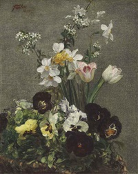narcisses, tulipes et pensées by henri fantin-latour