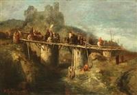 corps de troupe passant sur un pont de bois by victor nehlig