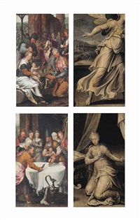 the adoration of the magi (recto); the circumcision (recto ); the annunciation (verso, across both panels) (2 works, double-sided) by pieter aertsen