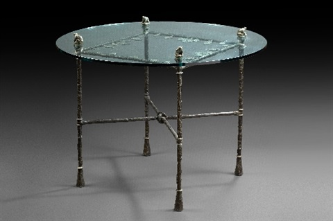 table with leaves and frogs by diego giacometti