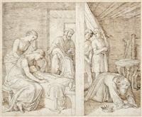 david und bathseba trauern um ihren sohn. illustrationsentwurf zur bilderbibel by julius schnorr von carolsfeld