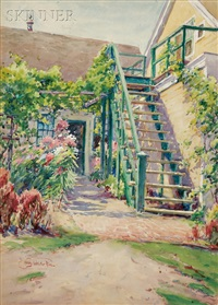 the garden stairway (+ mending the nets, verso) by henry w. rice