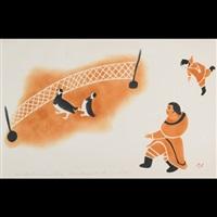 chasing ptarmigan into net by alice alashuak