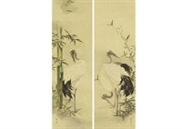 young bamboo and crane, blue banboo and playing crane (pair) by gyokusho kawabata