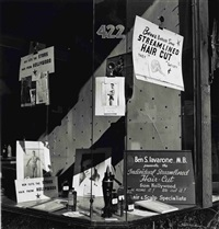 ben's barbershop window, san francisco by john gutmann