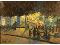 paris, sortie du spectacle le soir by henry roger