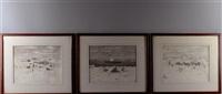 huskies resting, reindeer grazing, walrus boat (3 works) by george ahgupuk