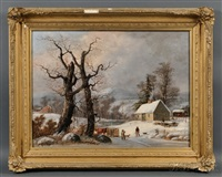 winter landscape with cottage, figures, and logging by george henry durrie
