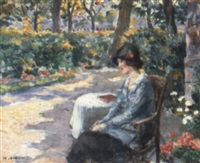 a lady in a summer garden by henri alberti