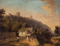 a view of granada with a waterseller and other figures by jules cesar denis van loo