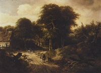 a landscape with figures on a road near a woodland village by gerrit van hees