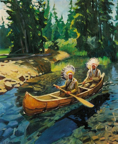 two native americans in a canoe by tim solliday