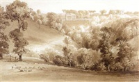 landscape with country manor by william henry bartlett