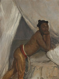 jeune fille de danané dans l'atelier parisien by jean bouchaud